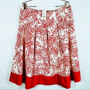 Lane Bryant NWT16 Beige Skirt With Red Leaft Print